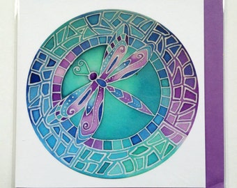 Mosaic Dragonfly Greeting Card