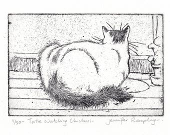 Cat Etching - 'Tortie Watching Chickens' by Jennifer Rampling