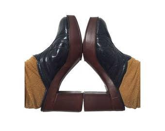 1970s Disco Platform CLOGS  Shoes // Leather Platform Shoes // size uk4 - us5.5 -eu 37