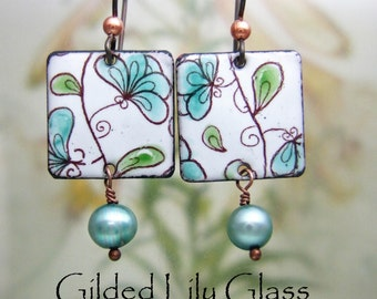 Teal Blooms Enamel Earrings, Copper Enamel Jewelry handmade in North Carolina