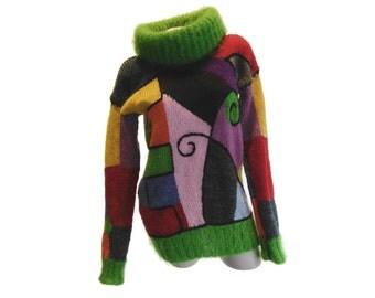 Roll neck sweater, Mohair sweater jumper, Hand knit jumper, Knit womens sweater, Roll neck jumper, Knit womens jumper