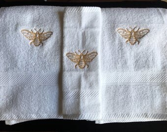 Embroidered Towels with Golden Bee