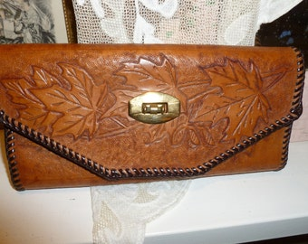 Vintage Hand Tooled Leather Wallet From The 1960's
