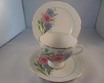 bone china trio, cornflower pattern, cup saucer plate, gilded edges, five in stock, English bone china, tea party set, British china,