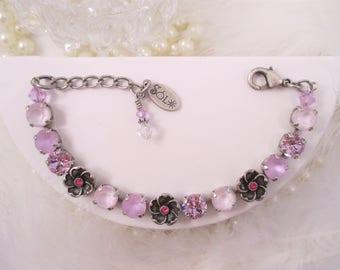 """Swarovski Crystals/""""Lavender Lush""""/Cup Chain Bracelet/Violet bracelet/Floral bracelet/Summer bracelet"""