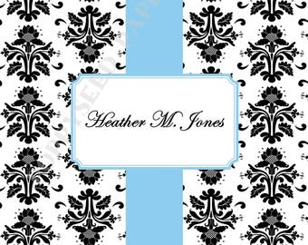 Damask notecards, Personalized folded note cards- Thank You Notes- Personalized note cards, stationery