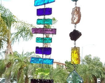 33 - 34 inch Blue, purple and Turquoise glass rain chain