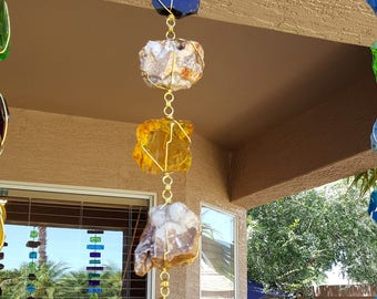 5 ft Rain Chain - Amber & Gold Glass and Rocks