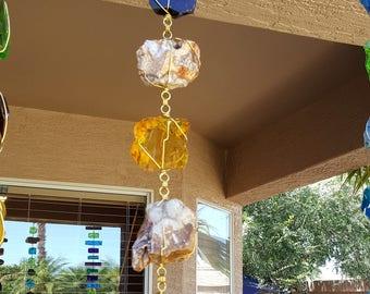 5 ft Rain Chain - Amber & Gold Glass and Rocks