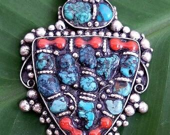 Highly Detailed Old, Vintage Tibetan Silver Pendant
