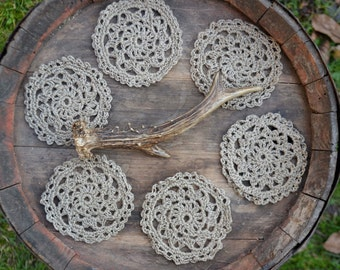 Set of coasters, rustic coasters, shabby chick coasters, crochet coasters, beige coasters, hippie coasters, hippie home decor, shabby chick