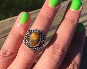 Vintage Tiger Eye Gemstone and Sterling Silver Statement Ring