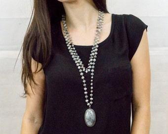 Black Rutilated Quartz Necklace - Rutilated Quartz Pave Diamond Pendant - Pave Diamond Pendant - Multistrand Necklace - Statement Necklace