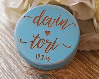 Wedding Ring Box, Wooden Ring Box, Ring Bearer Box, Wedding Gift, Engraved Wooden Box, Custom Names Ring Box with Burlap, Personalized