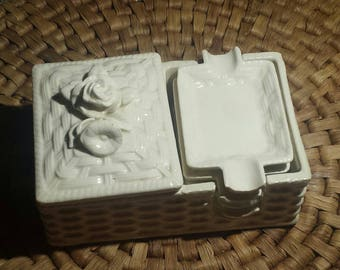 Vintage white porcelain stackable ashtray with cigarette/matches holder, lid. Made in Japan