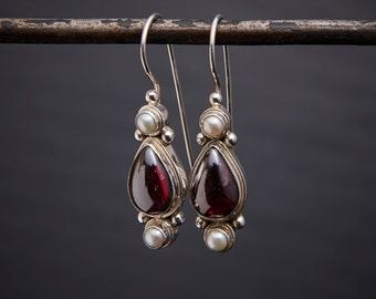 Garnet Drops, Garnet and Pearl Earrings, Silver Drop Earrings, January Birthstone, Birthstone Jewellery, Garnet, Pearl, Sterling Silver