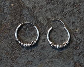 Silver Hoops, Bali Hoop Earrings, Everyday Hoops, Hoop Earrings, Boho Hoops, Tribal, Ethnic, Sterling Silver