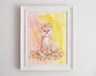 Cat Original Painting Cute cat painting Cute animal art Cute kitten painting Original kitten painting Blonde kitten painting Cute cat art