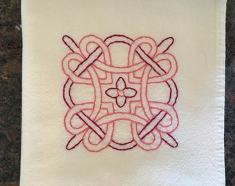 Flour sack towel, hand embroidered: Celtic knot square