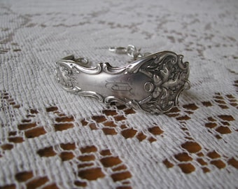"Spoon Bracelet, Cuff Bracelet,  Spoon Jewelry, Silverware Jewelry, ""Charter Oak"" by 1847 Rogers, 1910, HIGHLY Collectible"