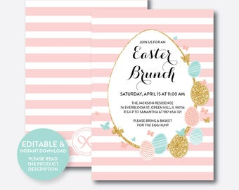 Instant Download, Editable Easter Brunch Invitation, Easter Egg Hunt Invitation, Easter Holiday Invitation, Egg Hunt Invitation (SHI.06)