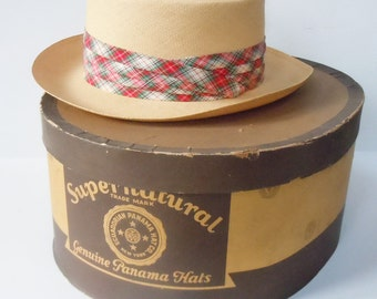 Panama Hat / Vintage Mens Hat in Original Box / Super Natural / Genuine Panama Hat / Fine Plaid Band
