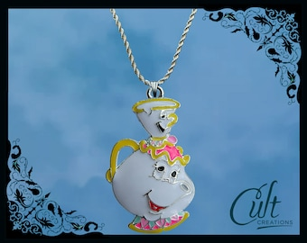 Beauty and the Beast sterling silver / faux leather necklace with Mrs Potts and Chip
