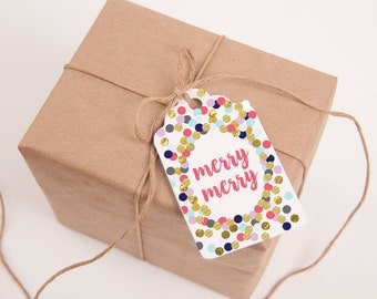 Merry Dots Gift Tags, Multicolor Polka Dots, Merry Christmas, Merry, Printable Gift Tags