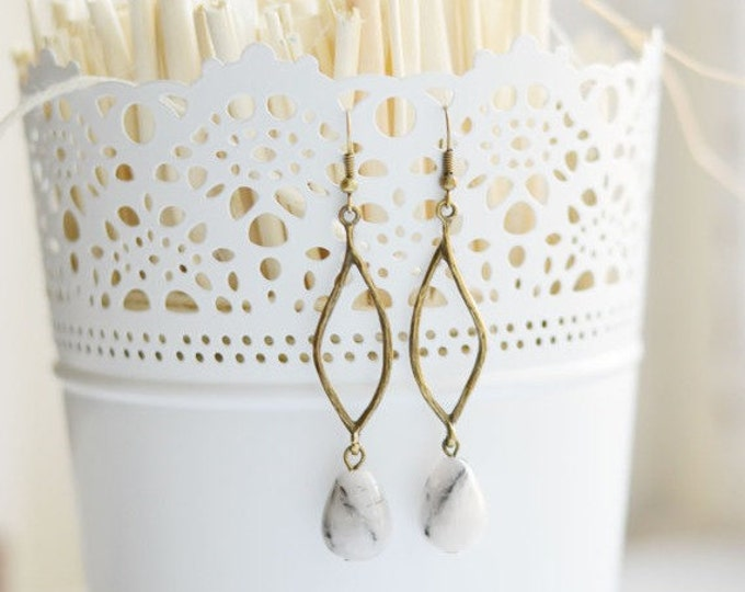 DROP Earrings from metal brass and natural stone agate