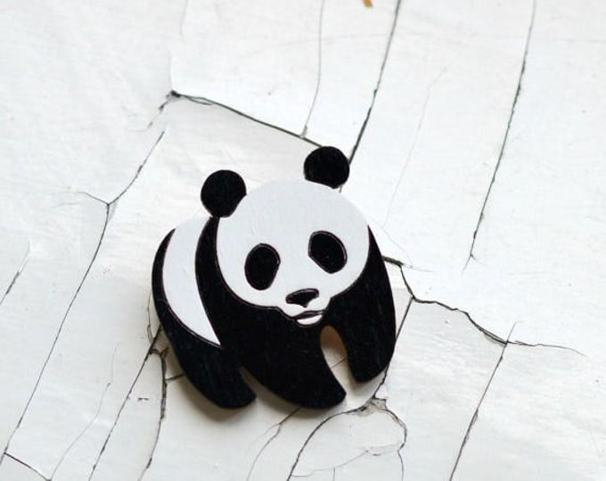 Panda // WWF // Wooden brooch is covered with ECO paint // Laser Cut // 2017 Best Trends // Fresh Gifts