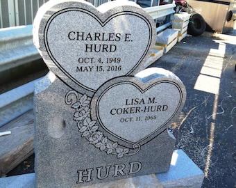"Cemetery granite headstone- ""Stacked Hearts"" design."