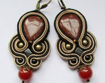 Soutache Earrings With Jasper
