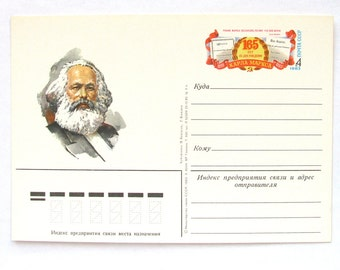 Karl Marx, Open Letter, Soviet Union Vintage Postcard, Communism, USSR, Unused Postcard, 1983