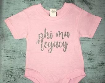 Custom Sorority Legacy Glitter Baby Body Suit