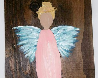Earth Angel my Guardian Dear, hand painted Angels, Personalised Guardian Angel, Memorial