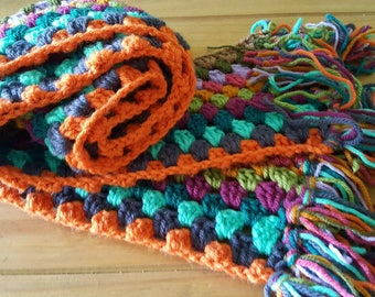 Hand crocheted Vintage style Chunky Scarf