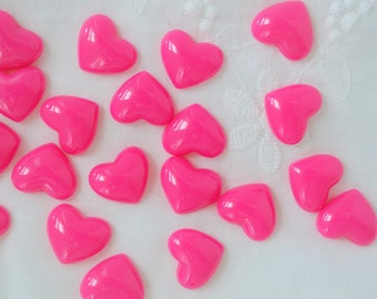 14mm Kawaii Hot Pink Heart Decoden Cabochons - 10 piece set