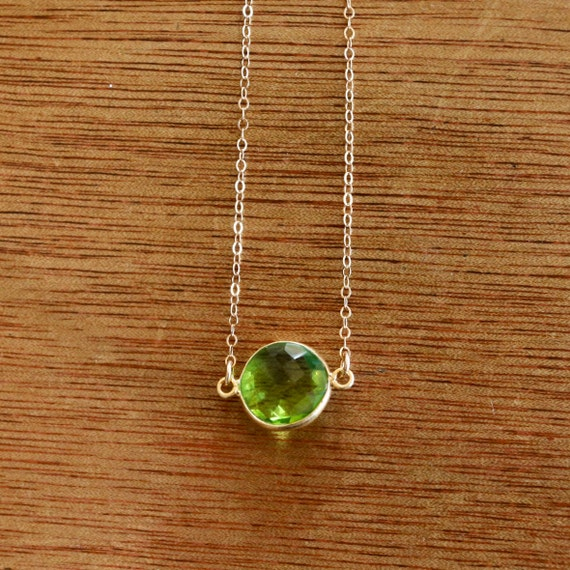 Delicate Necklace, Dainty Necklace, Tiny Necklace, Peridot Necklace, Gemstone Jewelry, Bridal Jewellery, Bridesmaid Jewellery, Bridal Party
