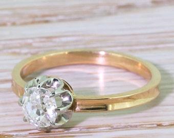 Art Deco 0.50 Carat Old Cut Diamond Engagement Ring, circa 1915
