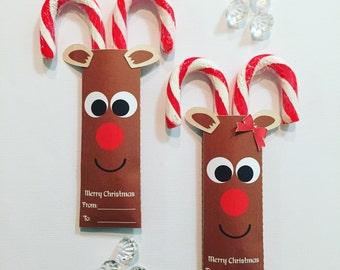 Candy cane reindeer pockets