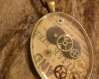 antique brass colored steampunk necklace