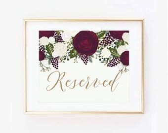 Printable Wedding Sign, Reserved Sign, Vintage Wedding, Vintage Sign, Vintage Floral, Reserved Wedding Sign, Printable Reserved Sign #CL158