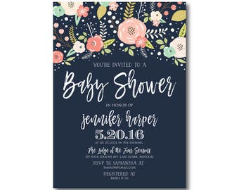 Floral Baby Shower Invitation, Baby Shower Invite, Girl Baby Shower Invitation, Shower Invitation, Printable Baby Shower Invitation #CL324