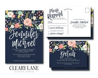Wedding Invitation Suite, RSVP Postcard, Info Card, Wedding Invite Suite, Details Card, Invitation Set, 3 Piece Wedding Suite #CL324