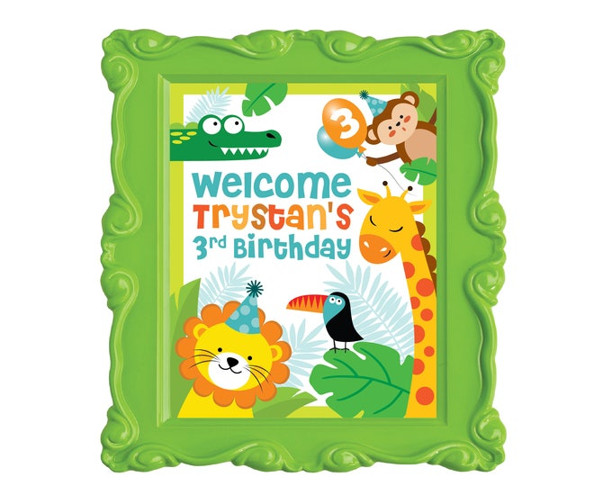 Jungle Welcome Sign, Safari Welcome Sign, Animals Birthday Party, Welcome Sign, Printable sign, Zoo Welcome Sign