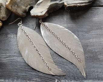 Silver Leather Feather Earrings Extra Large Feather Earrings Faux Leather Earrings Bohemian Silver earrings Metallic Vegan Leather Earrings
