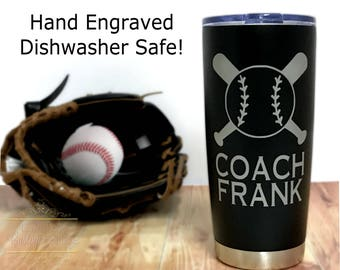 Softball Coach Gift - Baseball Coach Coffee Travel Mug - Dishwasher Safe - 20 oz Stainless Steel Coffee Tumbler To-Go Mug - Softball Coach