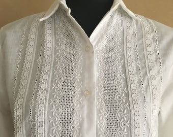 Vintage White Cotton Blouse with Lace & Embroidered Front