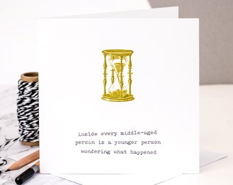 Funny 40th Birthday Card; Funny 50th Birthday Card; 'inside every middle-aged person...'; GC040
