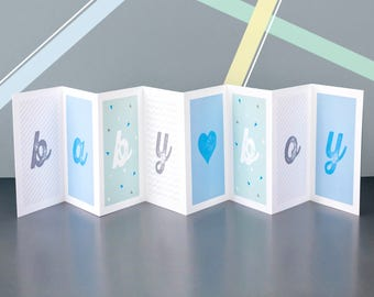 Personalised Baby Boy Concertina Card; New Baby Card; Personalised New Baby Card; Baby Boy Card; CC021